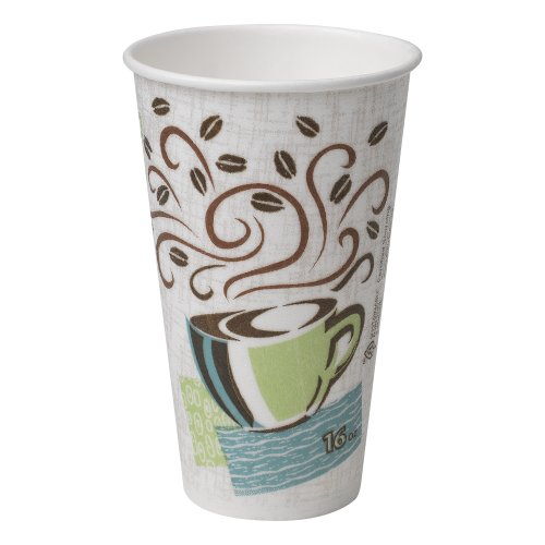 Dixie PerfecTouch 16 Oz Insulated Paper Hot Coffee Cup by GP PRO (Georgia-Pacific), Coffee Haze, 5356DX, 500 Count (25 Cups Per Sleeve, 20 Sleeves Per Case), Coffee Haze Design