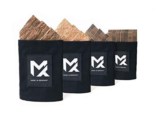 MAY-TIE Einstecktuch Pocket Square aus 100% Kork, NEUHEIT 2in1: beidseitig vorgefaltet & höhenverstellbar, handgefertigt, verschiedene Muster zur Auswahl