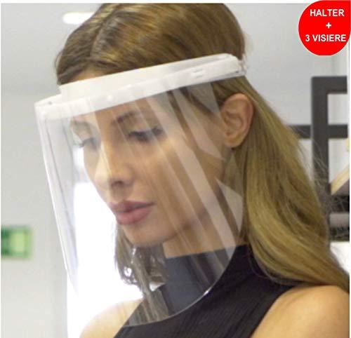 Fredo® Visier aus Kunststoff -Transparentes Aufklappbares Gesichtsvisier - 1 X Halter mit je 3 Wechselfolien- Transparent - Für Mann/Frau/Kind-Größenverstellbar