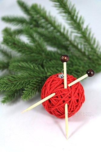 Red Yarn Ball Christmas Ornament Gift for Knitters Handmade Christmas Tree Decoration