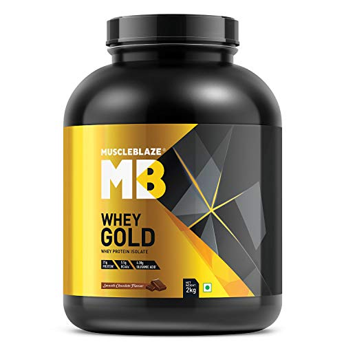 MuscleBlaze Whey Gold, 100% Whey Protein Isolate (Smooth Chocolate, 2 kg / 4.4 lb, 66 Servings)