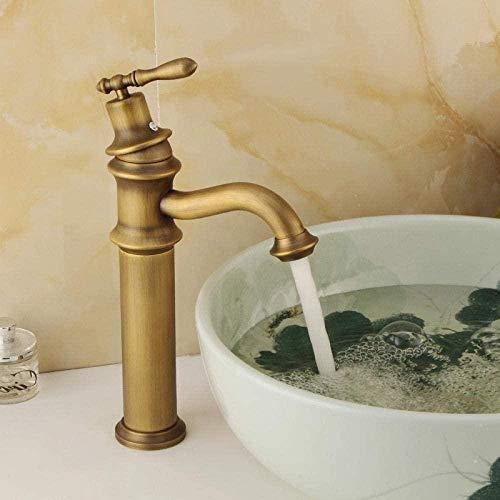 Waterkraan in Europese stijl koper retro wastafel warm en koud water waterkraan bekken wastafel hoog deel korte waterkraan