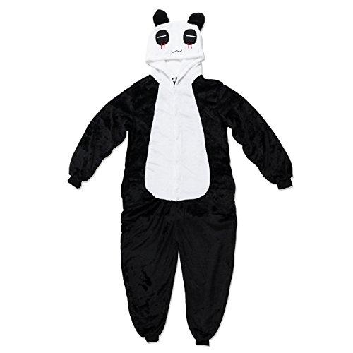 Katara 1744 - Grenouillère Combinaison Adultes Tenue de Nuit Pyjama Kigurumi - Taille M 155-165cm Panda Noir-Blanc