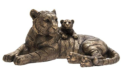 The Leonardo Collection LP46004 Reflections Bronzed Tiger with Cub Ornament, 24x17x11cm