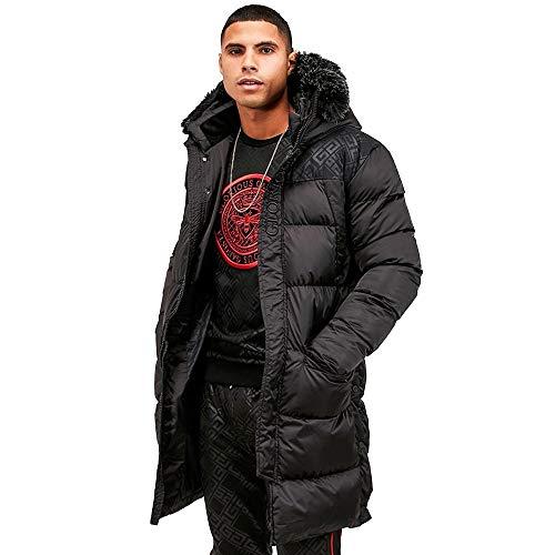 Glorious Gangsta   Vernier Faux Fur Puffa Parka Long Jacket - Black X-Small Black