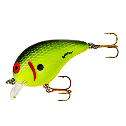 Bomber Lures Square A Crankbait Fishing Lure, Chartreuse Black Scales, 3/8 oz