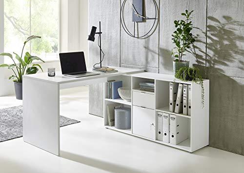 Eckschreibtisch Lena mit abschließbarer Tür, Computertisch, Winkelschreibtisch, Homeoffice, Bürotisch, Made in Germany