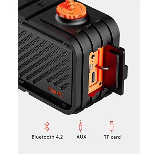 HAVIT 20W Caja de música con Altavoz Bluetooth, IPX5 a Prueba de Agua, Altavoz inalámbrico estéreo móvil con Powerbank, micrófono Incorporado, 20 Horas de Tiempo de reproducción (M22)