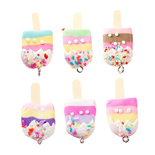30 pcs Soft Clay Pendants Artificial Ice Cream Pendants for DIY Jewelry Accessory ( Mixed Color )