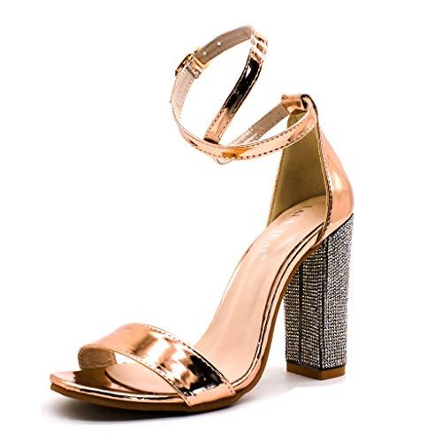 UMore Mujer Bajo Gatito Talón Correa de Tobillo Ante Oficina Trabajo Noche Sandalia Zapatos Sandalia Tacón Alto con Pulsera Brillo para Mujer