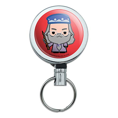 Harry Potter Dumblesore Cute Chibi Character Heavy Duty Metal Retractable Reel ID Badge Key Card Tag Holder with Belt Clip