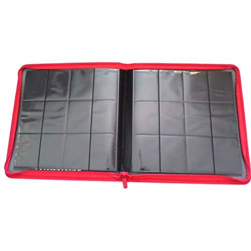 docsmagic.de Premium Pro-Player 12-Pocket Playset Zip-Album Red - 480 Card Binder - MTG - PKM - YGO - Reissverschluss Rot