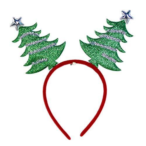 Yinuiousory Cartoon Geweih Nikolaus Hut Schneeflocke Tuch umwickelt Haar Hoop Glitzer Pailletten Festival Party Requisiten Erwachsene Kinder Weihnachten Stirnband merhfarbig