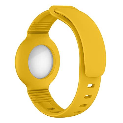 Airtag Watch Strap Cover protettiva Cover protettiva Tracker posizione staffa con cinturino in silicone, adatto per neonati, animali domestici, bambini, anziani (giallo)