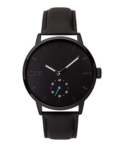 s.Oliver Herren Analog Quarz Uhr mit Leder Armband SO-3753-LQ, schwarz
