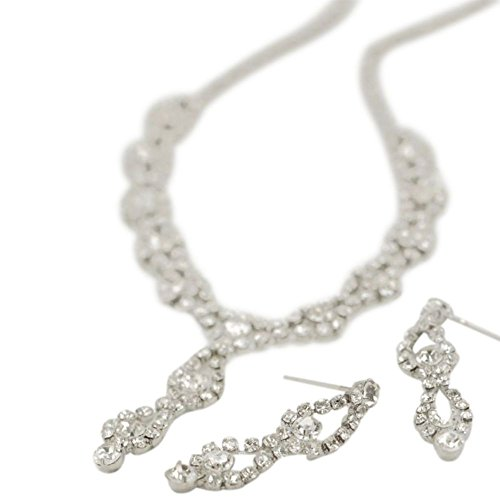 David's Bridal Double Drop Crystal Earring and Necklace Set Style ACS227, Silver