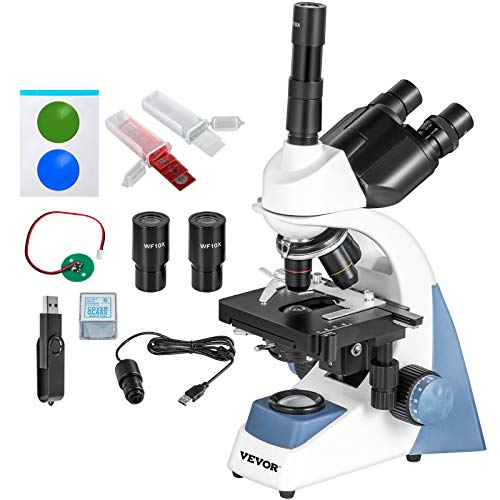 VEVOR Trinocular Compound Microscope 40X-2500X Magnification LED Digital Compound Microscope, Siedentopf Head, Research-Grade Microscope w/Wide-Field 10X/25X Eyepieces, 5MP Camera, Mechanical Stage
