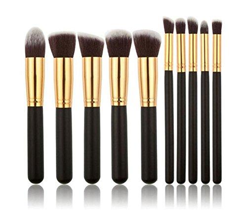 JoyRolly 10 pièces Maquillage des Yeux Brosses Femmes Fille Maquillage Brush Set pour Fard À Paupières Sourcils Eyeliner Mélange (2 Couleurs) (Or Noir) Gold Black