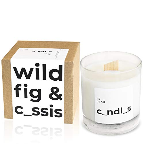 by hand Scented Soy Candle – Premium Wooden Wick Crackling Candles – 45-Hour Burn – Dripless, Long Lasting, Vegan, Cruelty-Free, Eco-Friendly – White Aesthetic Sleep Candle Gifts for Women – 220g