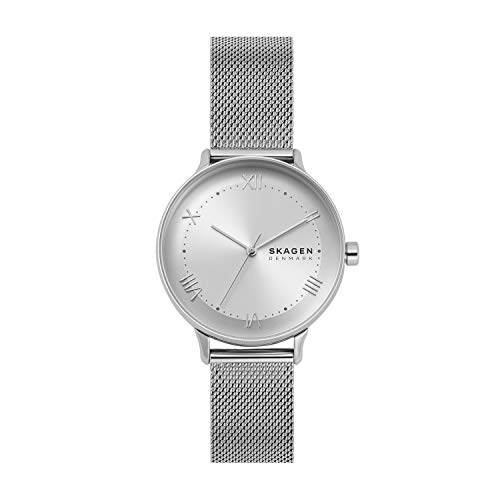Skagen Women's Nillson Quartz Analog Stainless Steel and Stainless Steel Mesh Watch, Color: Silver (Model: SKW2874)