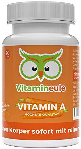 Vitamin A Kapseln hochdosiert & vegan - 10000 iE / 3000 µg Retinol (Retinylacetat) - ohne künstliche Zusätze - Qualität aus Deutschland - effektiver als Beta Carotin - Vitamineule®