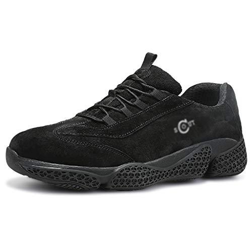 Zapatos de seguridad Hombres ocasionales de seguridad de alta temperatura al acero resistente de piel del dedo del pie zapatos con punta de trabajo de protección for el camino Trabajadores Soldador, V