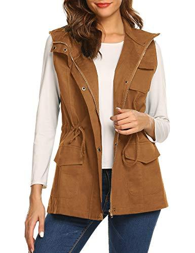 Beyove Womens Lightweight Sleeveless Military Anorak Cargo Vest