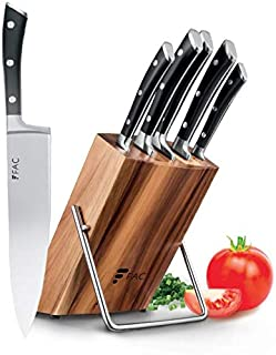 Fac Set de 5 Couteaux Professionnels avec Lame en Acier Inoxydable et Carbone : Chef, Pain, Viande, Office et Cuisine | Ki...