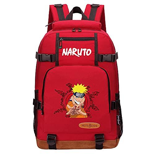 Leegt Hombres Y Mujeres Unisex Naruto 17 Inches Anime Mochila Para Cosplay, Mochila Para Ordenador Portátil, Mochila Escolar Con Puerto De Carga Usb