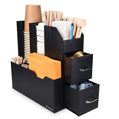 Navaris Organizzatore Professionale per Caffetteria - Cassettiera Verticale Multiscomparto - per Bicchieri Cannucce Tovaglioli Posate Bustine Zucchero