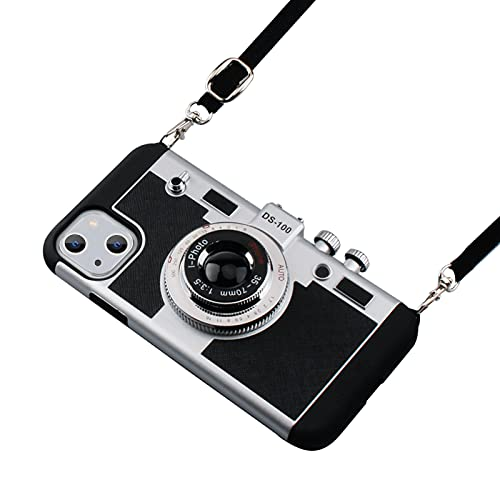 Awsaccy Emily in Paris Phone Case for iPhone 13 6.1 inch Camera Case Vintage Cover Cute 3D Cool Unique Design Silicone Case with Removable Neck Strap Lanyard for Girls Women Black