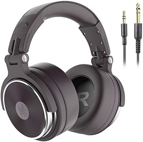 OneOdio Hi-Res Over Ear Headphone Wired Closed-Back DJ Studio Headphones for Monitoring and Mixing, Soft Protein Leather Earcups, Noise Isolation, 90° Rotatable Housing, Portable (Upgraded Version)