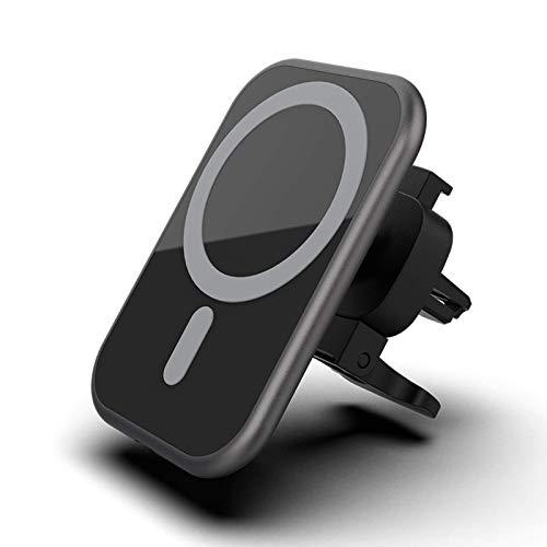 Cargador inalámbrico magnético para automóvil de 15 vatios Soporte para teléfono móvil de carga rápida Qi con orificios de ventilación, adecuado para el soporte para automóvil Magsafe de Iphone 12 Pro