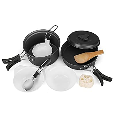 Flexzion Camping Cookware Mess Kit Compact 10pc Hiking Cooking Gear Set - For Outdoors, Backpacking, Campfire - Lightweight Portable Non Stick Pot & Pan With Utensils - Nylon Bag Accessories