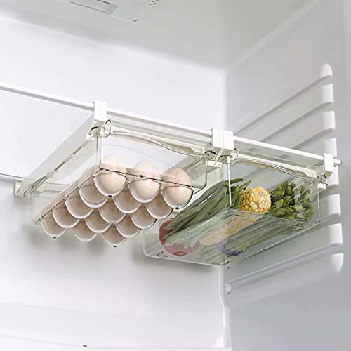 Viesap Organizador de Cajones Para Frigorífico, 2 Pack Caja de Almacenamiento del Refrigerador, Cajón Nevera Extraíble Organizador de Almacenamiento,Huevos Frutas Verduras, Para Cocina y Refrigerador
