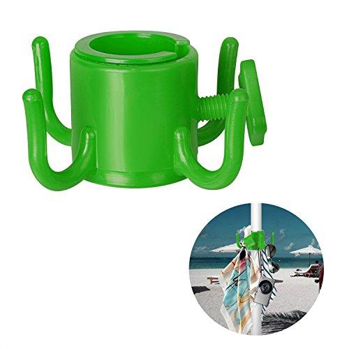 takestop GKV_2192707 - Gancho para sombrilla de playa, 4 perchas, para colgar ropa, sombreros, bolsos, playa, piscina, paraguas, etc. Organizar, arena, ganchos de color aleatorio