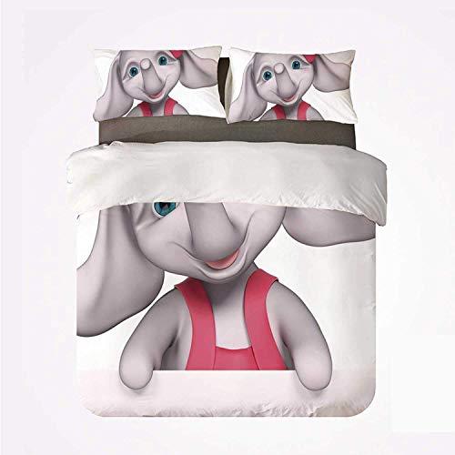 Zozun Duvet Cover Set Elephant Nursery Decor Comfortable 3 Bedding Set,Cheerful Baby Girl Smiling Elephant 3D Cartoon Style Print for Hotel