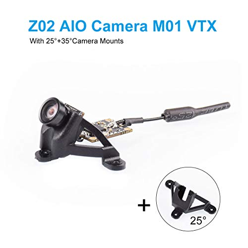 BETAFPV Z02 AIO Camera 5.8GHz M01 VTX 25mW Transmitter 600TVL NTSC/PAL with 25 and 35 Degree Camera Mount OSD SmartAudio for Tiny Whoop Drone Like Beta65S Whoop(Pin-Connected Version)