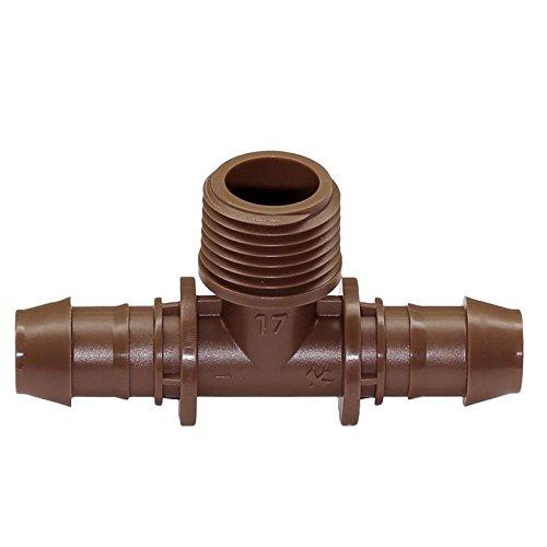 Rain bird tropf Tube dripline XFD 16 mm, 33 cm – druckausgleichend + autonettoyants, 2,3 L/H überirdisch ou XFF connecteur, archet, raccord en T Femelle adaptateur XFF-TMA-050 T-Stück 1/2 AG