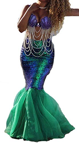 Women's Mermaid Costume Lingerie Halloween Cosplay Fancy Sequins Long Tail Dress with Asymmetric Mesh Panel, Green, Small