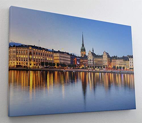 Stockholm City Leinwand Canvas Bild Wandbild Kunstdruck L1510 Größe 70 cm x 50 cm