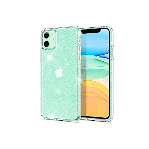 mycuddlytail iPhone 11 Case,Transparent Slim Thin Liquid Crystal Clear Glitter Soft TPU Cover Shockproof Protective Anti-Slip Cases Designed for iPhone 11 6.1 inch(2019)- Crystal Quartz