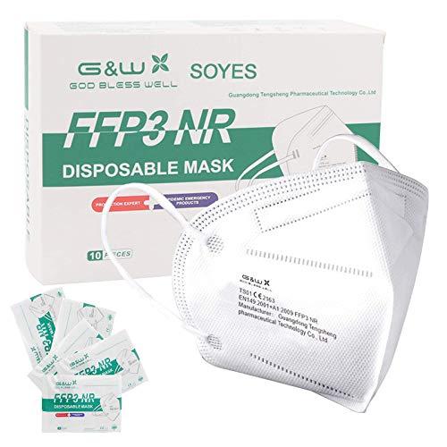 FFP3 Maske CE Zertifiziert - 10 Stück Masken - Premium Einzelnverpackung Atemschutzmaske ohne Ventil
