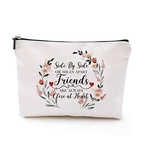 YouFangworkshop Fun Friendship Makeup Bag - Side By Side or Miles Apart Travel Portable Makeup Pouch Long Distance Friendship Gifts for Best Friend Sister Bestie Girlfriends Makeup Case