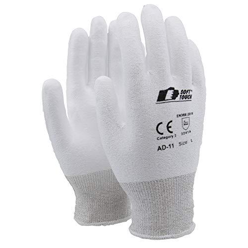 Soft Touch Tuffalene® Handschuh Arbeitshandschuhe Schnittschutz Handschuhe Weiß - Flexible Handschuhe mit Schnittschutz - XL - 1 Paar