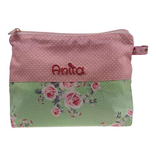 Kulturbeutel Rosen/Rosa 21x16cm mit Namen Kulturtasche Beauty Bag Waschtasche Schminktasche Kosmetiktäschchen personalisiert für Frauen/Damen/Mädchen