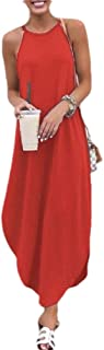 neveraway Womens Solid Sleeveless High Neck Classic Pullover Loose Long Dress