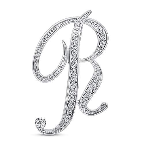 Bling Jewelry Declaración Grande ABC Pave Cristal cursivo guión Monograma Letras Alfabeto Inicial R Bufanda Solapa Pin Broche para Las Mujeres Plateadas