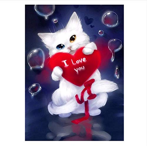 5D Diy Pintura Diamante Blanco Lindo Gato de punto de Cruz Rojo Amor Gato Costura Decoración Del Hogar Bordado de Diamantes Completo Gif-30x40cm