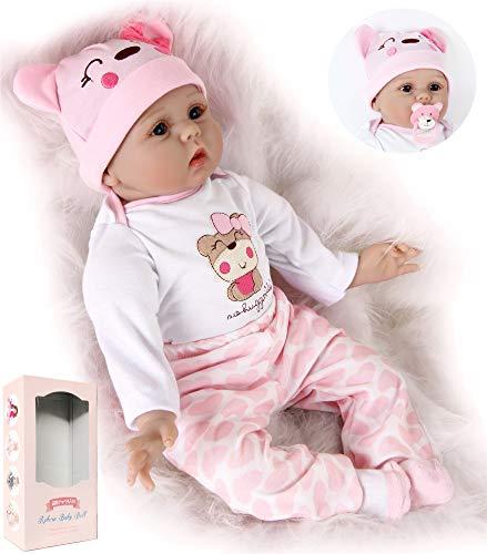 ZIYIUI Reborn Dolls weibliche Puppe, realistisch, weiches Silikon-Vinyl, Neugeborene, 55 cm, Baby-Puppe, Spielzeug, Geburtstagsgeschenk
